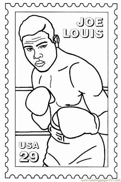 Coloring History Month Pages Joe Louis Boxing