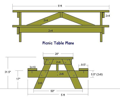 wooden picnic tables plans  instructions guide patterns