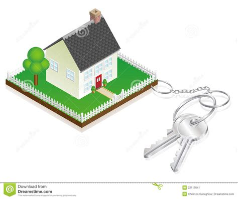 House Attached To Keys As Keyring Stock Image