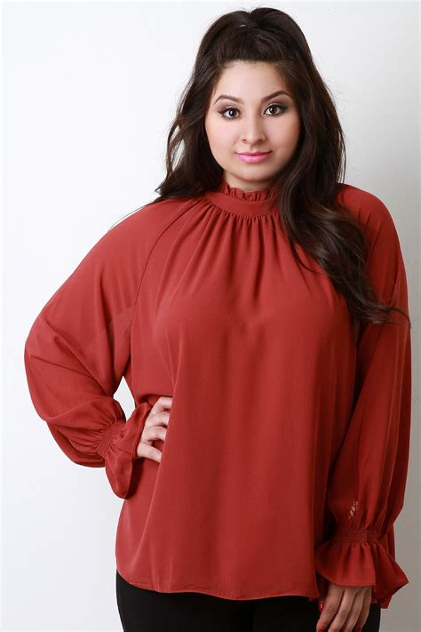 elastic waist blouse plus size high neck ruffle collar chiffon blouse urbanog