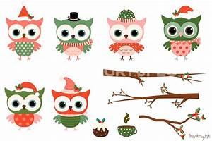 Christmas owls clipart set, Cute owl clip art, Winter ...