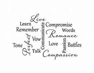 Love Marriage Word Collage Vinyl Wall Decal, Love Romance ...