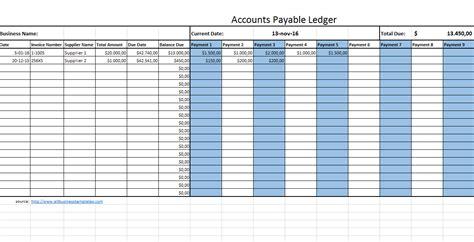 accounts payable legder templates
