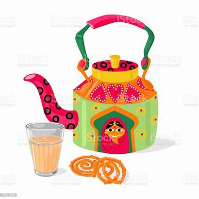 Chai Indian Tea Vector Illustration Kettle Jalebi