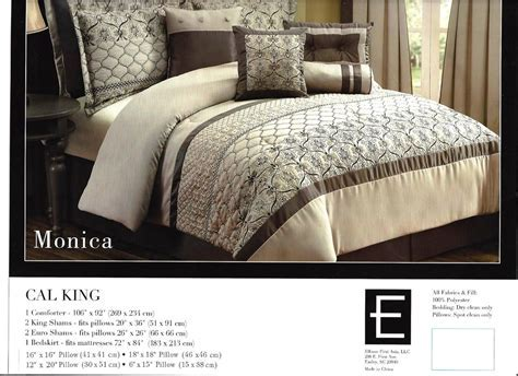 Kohl's 10 Pc Embroidered Bedding Set ~ Cal King 106 x 92