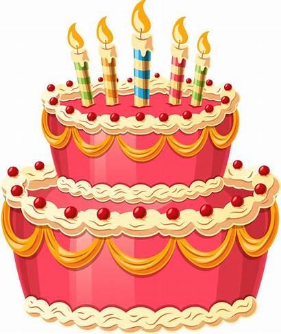 Cake Birthday Cartoon Clipart Cakes Transparent Clip