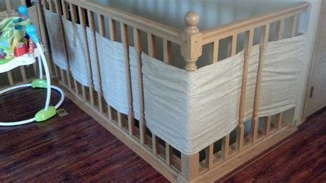 banister safety baby safety for stair railings fabric weaved through