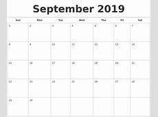 September 2019 Calendar Free Qualads