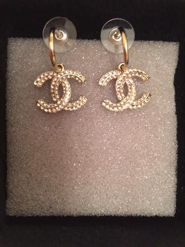 chanel cc dangle hook earrings  gold  crystals