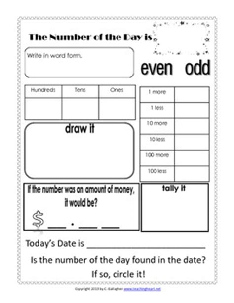 number of the day worksheet free by teaching colleen