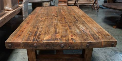 Rustic Wood Table Top Its Thick Trestle Base   Tierra Este