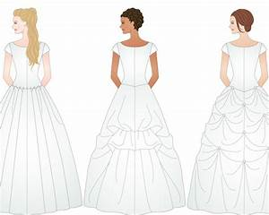 3 different examples of ways to bustle a wedding dress With wedding dress train types
