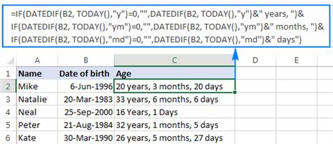 calculate age excel birthday