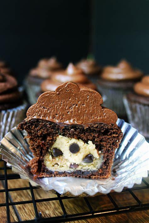 salted dark chocolate cupcakes stuffed  chocolate chip