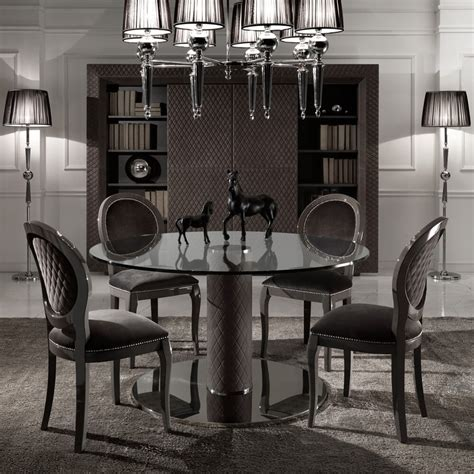 italian nubuck leather  glass dining table  chairs set