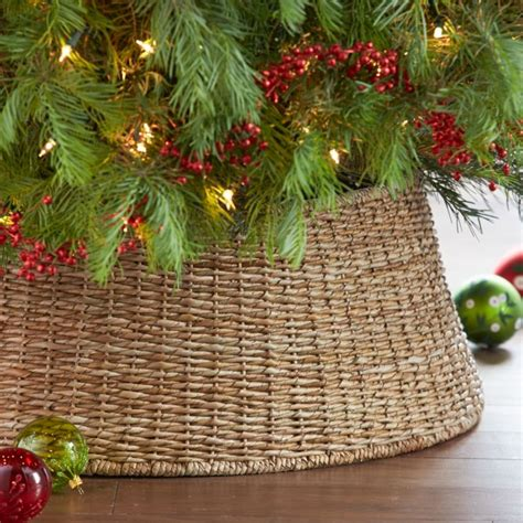 michaels christmas tree basket base abaca woven tree collar crate and barrel