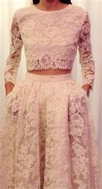 Two-Piece Short Sleeve Ankle Length Lace Sheath Prom Dress ...