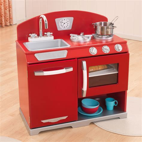 kidkraft red retro kitchen stove oven kids wooden play