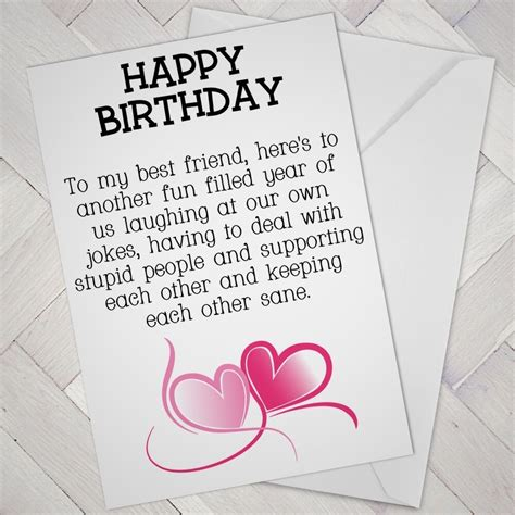 Birthday cards for women friends. BEST FRIEND Birthday CARD FRIENDS Funny Mate Female Girl support Mates freind   eBay