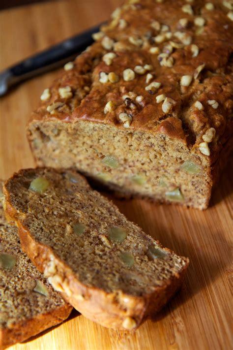 easy  healthy vegan banana apple chunk bread recipe