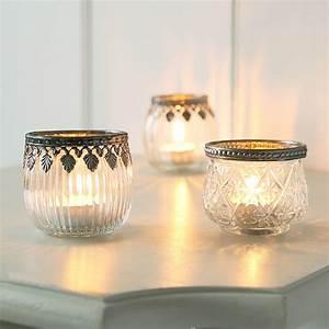 Glass, Tea, Light, Holder, With, Decorative, Trim, By, Clem, U0026, Co