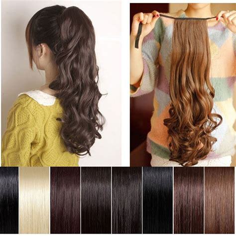 ponytail curly clip extensions hair pony tail natural thick w17 choice extension wigs pieces