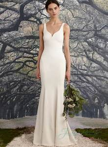 Jw16044 sexy low back simple sheath wedding dress 2016 for Sheath wedding dress low back