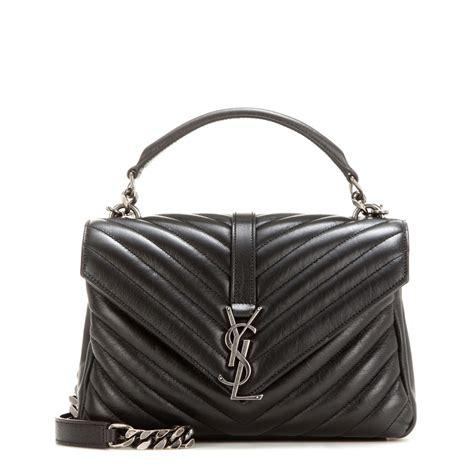lyst saint laurent classic monogram quilted leather shoulder bag  black