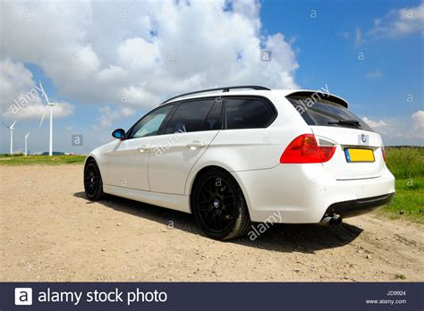 Bmw 18 Inch Rims by White Bmw E91 320i Touring With Black 18 Inch Rims Stock
