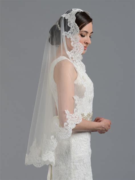 Bridal Mantilla Veil Elbowfingertipchapel V032n Ivorywhite