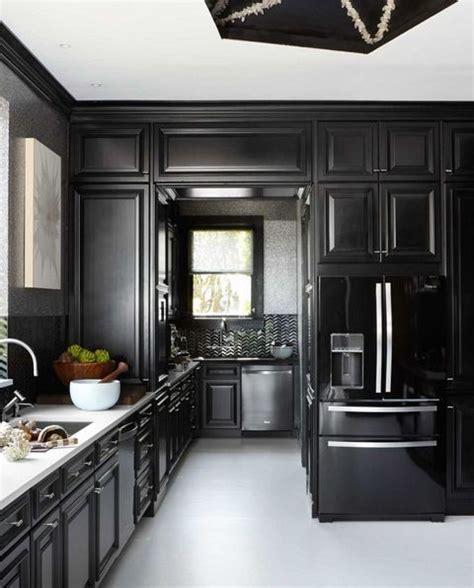 black kitchens black cabinet  backsplash ideas