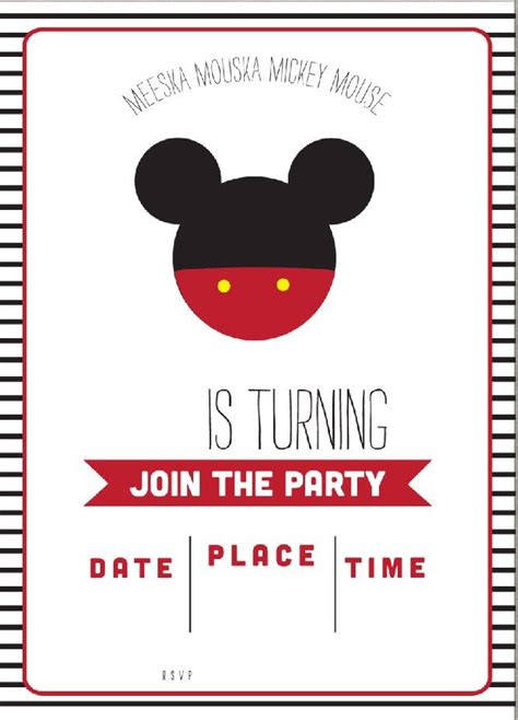 template  simple mickey mouse head invitation