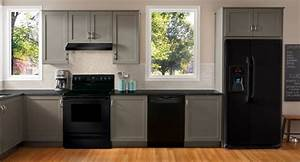 Grey cabinets with black appliances grey with black for Kitchen cabinets lowes with black and gray wall art