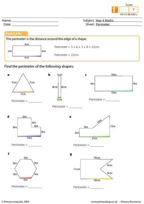 year 4 maths perimeter worksheet intermediate 4th