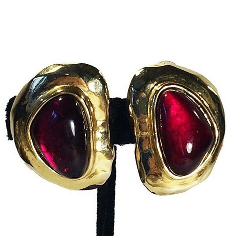vo ruby poured glass matte gold earrings vintage