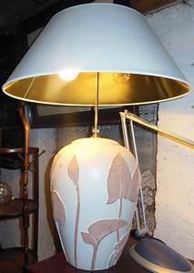 Lampe Auf Englisch : gro e lampe in jugendstil art ton lampe mit wei goldenem schirm antik m bel antiquit ten ~ Orissabook.com Haus und Dekorationen
