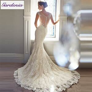 Free veil vestido de noiva lace mermaid wedding dress low for Low back lace mermaid wedding dress