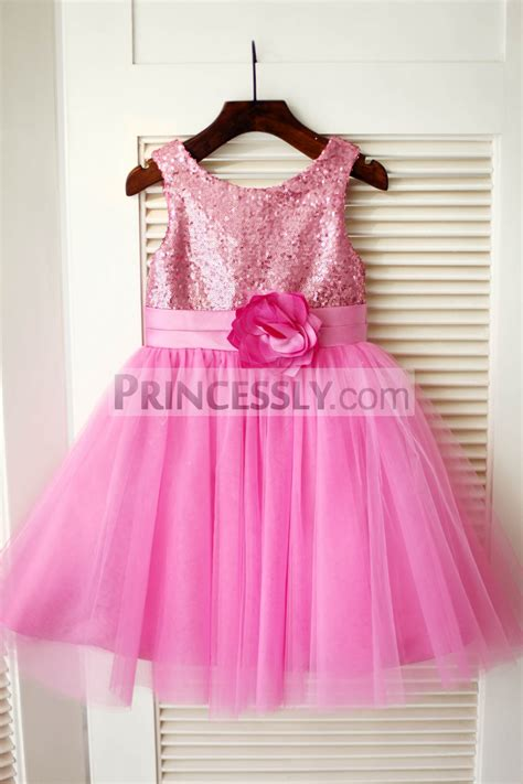 hot pink sequin tulle wedding flower girl dress
