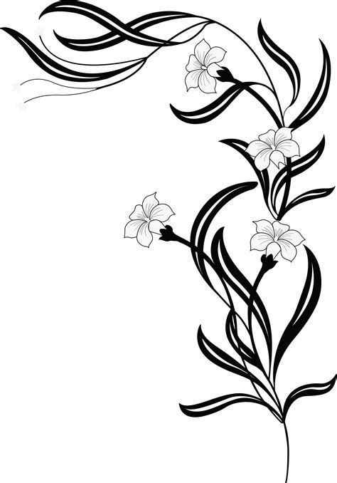 Free Clipart Of A grayscale floral vine