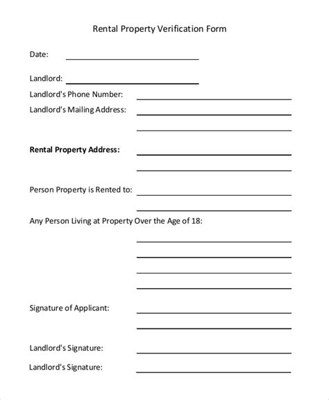 sample rental verification form  examples   word