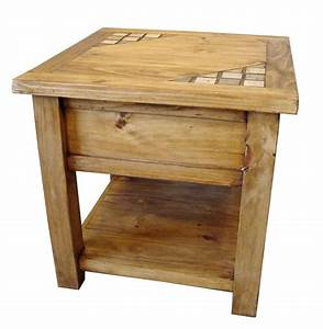 Marble And Solid Wood Rustic End Table - Special Order