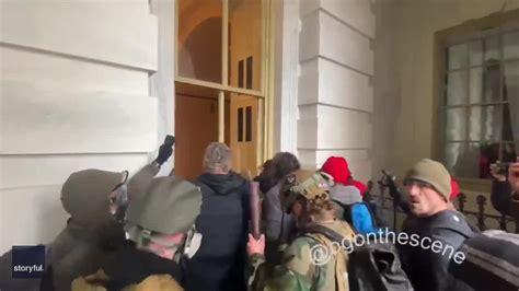 trump supporters break windows  capitol building