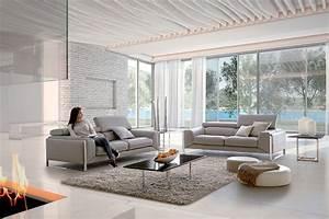 nuage canape cuir tetieres relevables et pieds metal With home salon canape cuir
