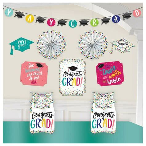 When planning a party, graduation decorations are easy to find. YAY Grad Room Decorating Kit Graduation Party Decorations Banner Table Fan Wall - Walmart.com ...