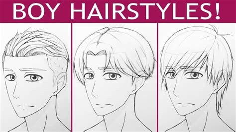 Anime Boy Hairstyle by How To Draw 3 Boy Hairstyles