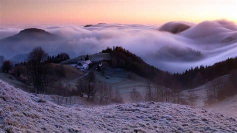 自然 雾 早晨的乡村风景桌面壁纸高清大图预览1920x1080_风景壁纸下载_彼岸桌面