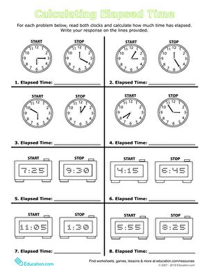 calculate elapsed time worksheet education