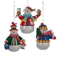 kurt adler 3 piece snowman christmas ornament set