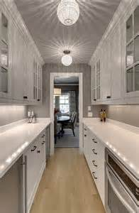 Butler Lighting galley style butler pantry design transitional kitchen