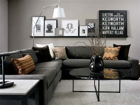 Gray Living Room With Black Sectional Sofa Popular Gray